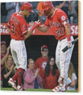 Ian Kinsler and Mike Trout Wood Print