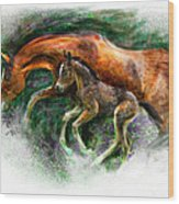 In Harmony Three Days Old Arabian Mare Running Foal Wood Print