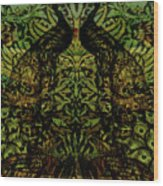 Indian Blue Peafowl Pattern Wood Print