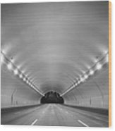 Interior Of Illuminated Tunnel Wood Print