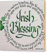 Irish Blessing Round Wood Print