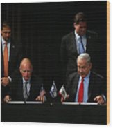 Israeli Prime Minister Netanyahu Meets With California Gov. Jerry Brown In San Francisco Wood Print