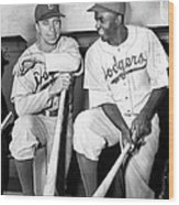Jackie Robinson and Pee Wee Reese Wood Print