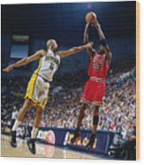 Jalen Rose and Michael Jordan Wood Print