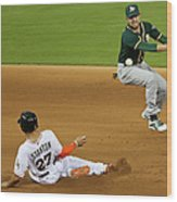 Jed Lowrie and Giancarlo Stanton Wood Print