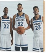 Jimmy Butler and Andrew Wiggins Wood Print