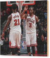 Jimmy Butler and Dwyane Wade Wood Print