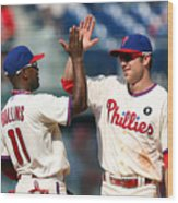 Jimmy Rollins and Chase Utley Wood Print