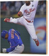 Jimmy Rollins and Curtis Granderson Wood Print