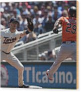 Joe Mauer and Jace Peterson Wood Print