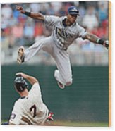 Joe Mauer and Tim Beckham Wood Print