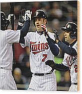Joe Mauer, Jason Kubel, and Brian Dozier Wood Print