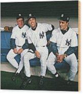 Joe Torre, Derek Jeter, and Don Zimmer Wood Print