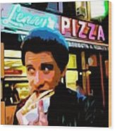 John Travolta - How to Eat Pizza Wood Print