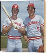 Johnny Bench and Pete Rose Wood Print