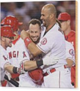 Johnny Giavotella, Albert Pujols, and Daniel Nava Wood Print