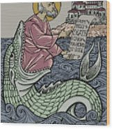 Jonah and The Sea Monster Wood Print