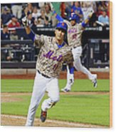 Juan Lagares and Ruben Tejada Wood Print