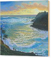 Ka Puka Alua Sunrise At Piahi  AKA Jawz  Painted At Actual Location On Maui Wood Print