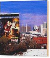 Kansas City Skyline at Christmas Wood Print