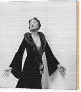 Katharine Cornell Wearing a Cecil Beaton Gown Wood Print