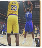 Kawhi Leonard and Lebron James Wood Print