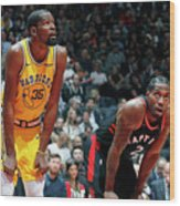 Kevin Durant and Kawhi Leonard Wood Print