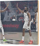 Kevin Durant, Kyrie Irving, and James Harden Wood Print