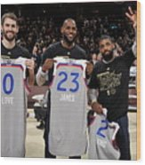 Kevin Love, Kyrie Irving, and Lebron James Wood Print
