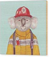 Koala Firefighter Wood Print