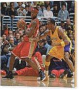 Kobe Bryant and Lebron James Wood Print