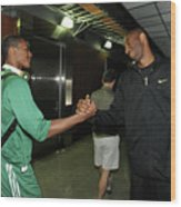 Kobe Bryant and Rajon Rondo Wood Print