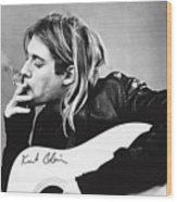 KURT COBAIN - SMOKING POSTER - 24x36 MUSIC GUITAR NIRVANA  Wood Print