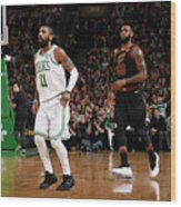 Kyrie Irving and Lebron James Wood Print