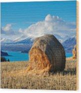 Lake Tekapo with hay bales and mountain background Wood Print