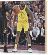Lance Stephenson and Lebron James Wood Print