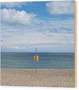 Life Bouy on empty beach on Irelands East Coast Wood Print