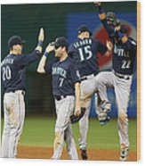 Logan Morrison, Seth Smith, and Kyle Seager Wood Print