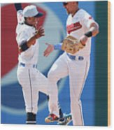 Lonnie Chisenhall and Francisco Lindor Wood Print