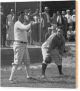Lou Gehrig and Babe Ruth Wood Print