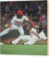 Maikel Franco and Buster Posey Wood Print