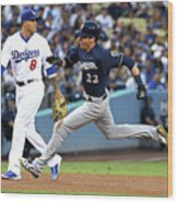 Manny Machado, Christian Yelich, and Lorenzo Cain Wood Print