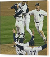 Mariano Rivera, Scott Brosius, And Jorge Posada Wood Print