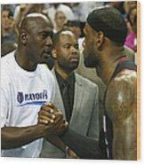 Michael Jordan and Lebron James Wood Print