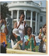 Michelle Obama Hosts Girls Scouts At First-Ever White House Campout Wood Print