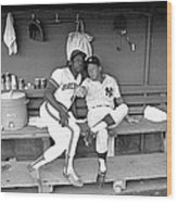 Mickey Mantle And Hank Aaron Wood Print
