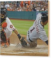 Miguel Cabrera and Hank Conger Wood Print