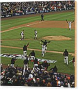Miguel Cabrera, Sergio Romo, and Buster Posey Wood Print
