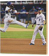 Mike Moustakas and Alcides Escobar Wood Print