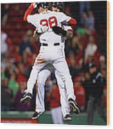 Mike Napoli and Grady Sizemore Wood Print